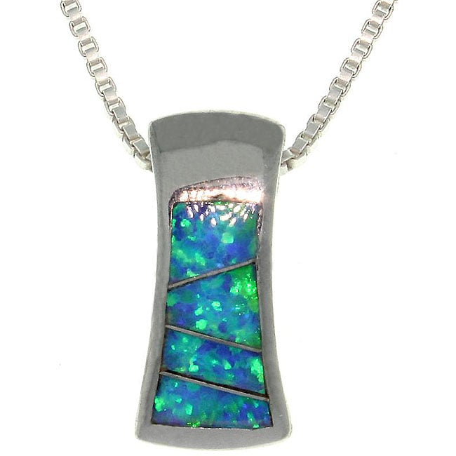 CGC Sterling Silver Created Opal Hourglass Design Necklace