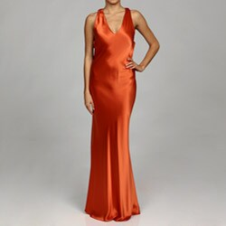 Issue New York Women's Coral Draped Back Evening Gown