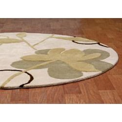 Hand-tufted Bloomer Beige Wool Rug (6' Round)