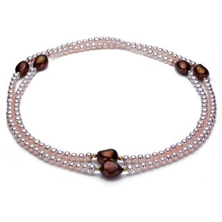 DaVonna 14k Gold Pink and Brown FW Pearl 36-inch Endless Necklace (4-12 mm)