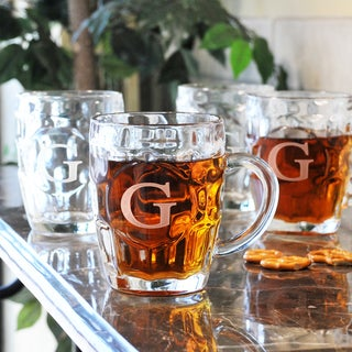 Custom Engraved Glass Beer Tankards (Set of 4)