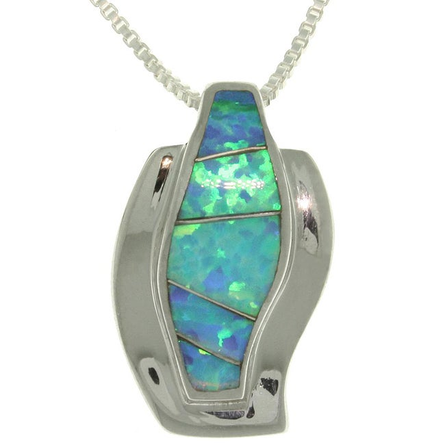 CGC Sterling Silver Created Opal Chic Wave Necklace