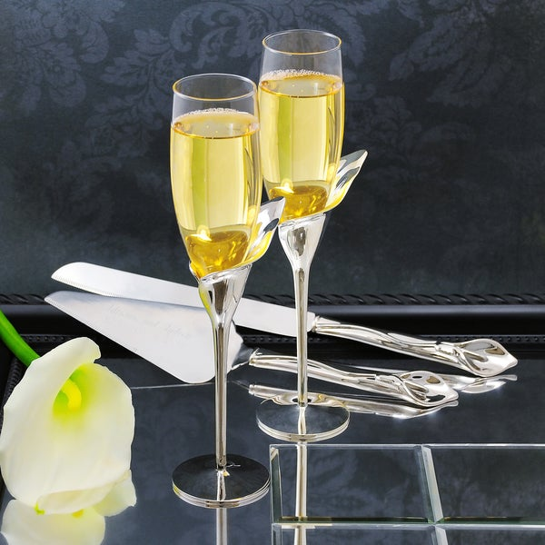 Calla Lily Champagne Flutes & Cake Serving Set