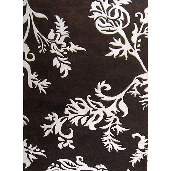 Alliyah Handmade New Zeeland Blend Brown Floral Rug(8' x 10')