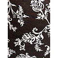 Alliyah Handmade New Zeeland Blend Brown Floral Rug (4' x 6')
