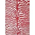 Alliyah Handmade New Zeeland Blend Zebra Off White Rug (4' x 6')