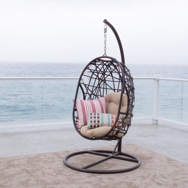 Christopher Knight Home Swinging Egg Outdoor Wicker Chair Overstock Shoppin