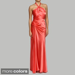 Issue New York Women's Fully Lined Keyhole Halter Evening Gown