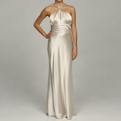 Issue New York Women's Pearl Bandeau Halter Evening Gown