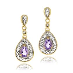 Glitzy Rocks 18k Gold over Silver Amethyst and Diamond Accent Earrings