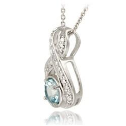 Glitzy Rocks Sterling Silver Diamond Accent Blue Topaz Necklace