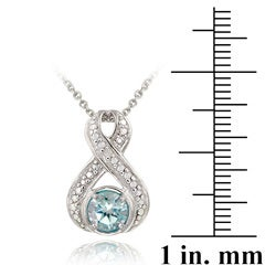 Glitzy Rocks Sterling Silver Diamond Accent Blue Topaz Necklace