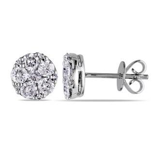 Miadora 10k White Gold 1ct TDW Diamond Cluster Earrings