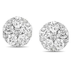 Miadora 10k White Gold 1ct TDW Diamond Cluster Earrings