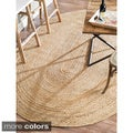 nuLOOM Alexa Eco Natural Fiber Braided Reversible Jute Rug (9' x 12' Oval)
