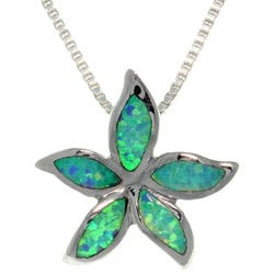 CGC Sterling Silver Created Opal Starfish Necklace