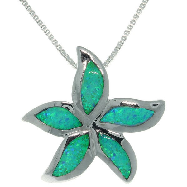CGC Sterling Silver Large Created Opal Starfish Necklace
