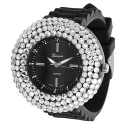 Geneva Platinum Womens' Black Dial Rhinestone Silicone Watch