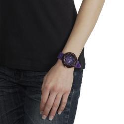 Geneva Platinum Women's Rhinestone Purple Silicone Watch