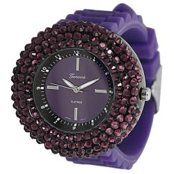 Geneva Platinum Women's Rhinestone Purple Silicone Watch