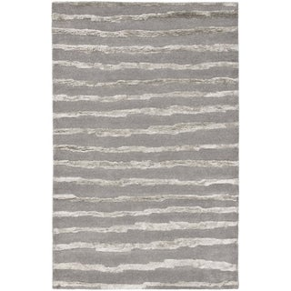 Handmade Soho Stripes Grey New Zealand Wool Rug (3'6 x 5'6')