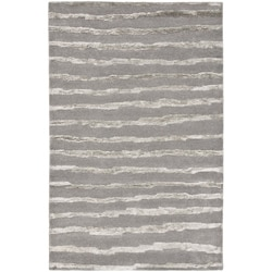 Handmade Soho Stripes Grey New Zealand Wool Rug (5' x 8')