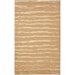Handmade Soho Stripes Beige/ Gold New Zealand Wool Rug (5' x 8')