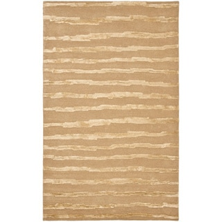 Handmade Soho Stripes Beige/ Gold N. Z. Wool Rug (7'6 x 9'6)
