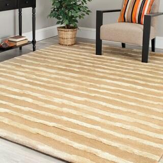 Safavieh Handmade Soho Stripes Beige/ Gold N. Z. Wool Rug (7'6 x 9'6)