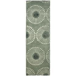Safavieh Handmade Soho Zen Grey/ Ivory New Zealand Wool Runner (2'6 x 10')