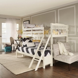 TRIBECCA HOME Simone Soft White Twin/ Full Bunk Bed
