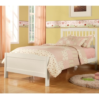 Simone White Twin-size Slatted Headboard Bed