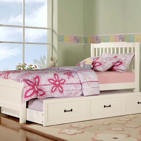 TRIBECCA HOME Simone White Twin-size Slatted Headboard Bed