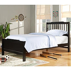 TRIBECCA HOME Simone Black Twin-Size Slatted Headboard Bed