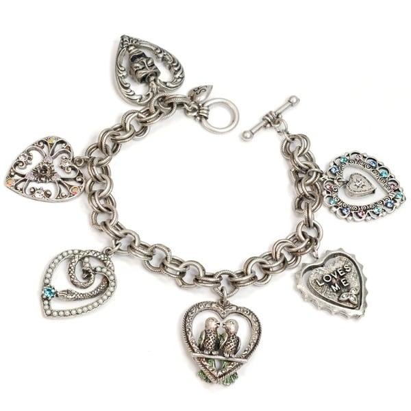 Sweet Romance Vintage Hearts Love Charm Bracelet