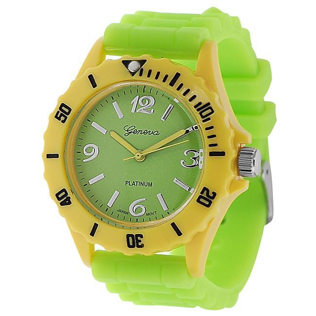 Geneva Platinum Women's Rhinestone Lime-Green Silicone Watch