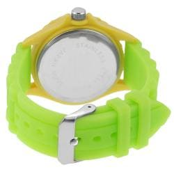 Geneva Platinum Women's Rhinestone Lime-Green Silicone Watch