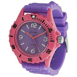 Geneva Platinum Women's Rhinestone Purple/Pink Silicone Watch