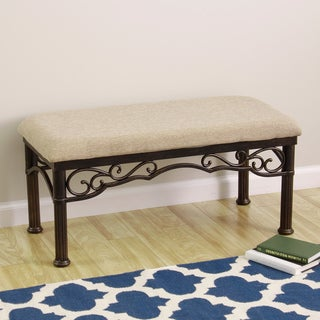 TRIBECCA HOME Lee Ann Bronze Iron Metal Linen Cushioned Bench