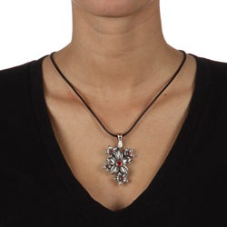Fine Grade Pewter Fleurette Red Crystal Flower Necklace