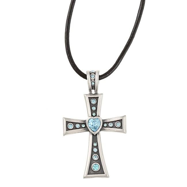 Fine Grade Pewter Corazon Blue Crystal Necklace