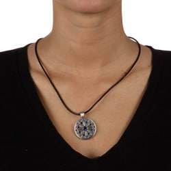 Fine Grade Pewter Gaia Blue Crystal Necklace