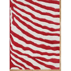 Alliyah Handmade New Zeeland Blend  Red Zebra Wool Rug (8' x 10')