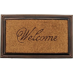 Coir Faux-wood Welcome Border Door Mat (1'9 x 2'11)