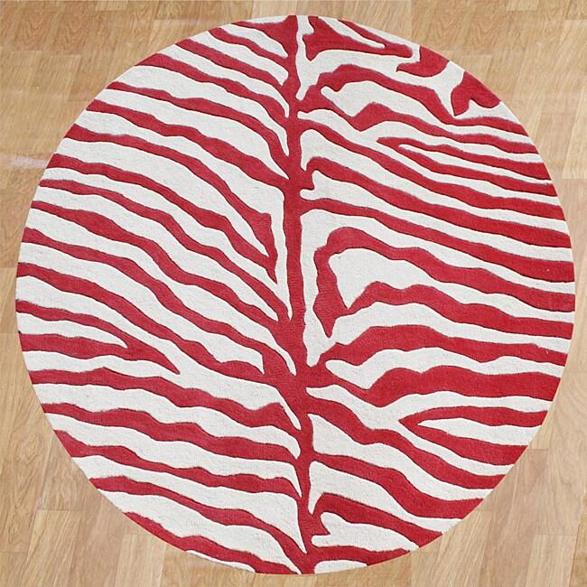 Alliyah Handmade New Zeeland Blend Red Zebra Wool Rug 6