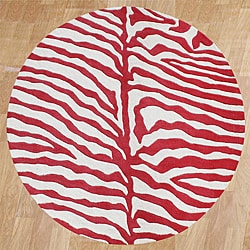 Alliyah Handmade New Zeeland Blend  Red Zebra Wool Rug (6' Round)
