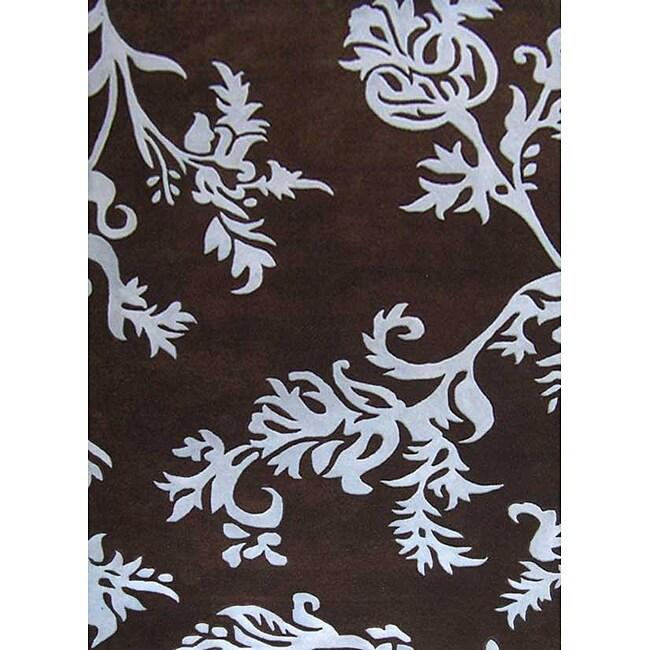 Alliyah Handmade New Zeeland Blend Brown Floral Wool Rug(8' x 10')