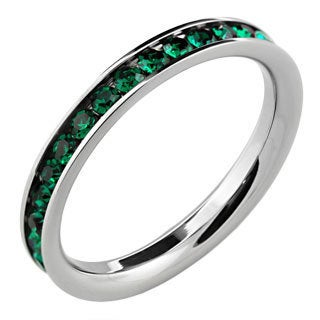 Stainless Steel Green Stackable Cubic Zirconia Eternity Ring