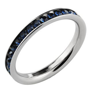 Stainless Steel Blue Stackable Cubic Zirconia Eternity Band