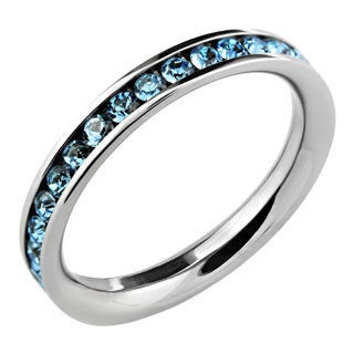 Stainless Steel Aqua Stackable Cubic Zirconia Eternity Band